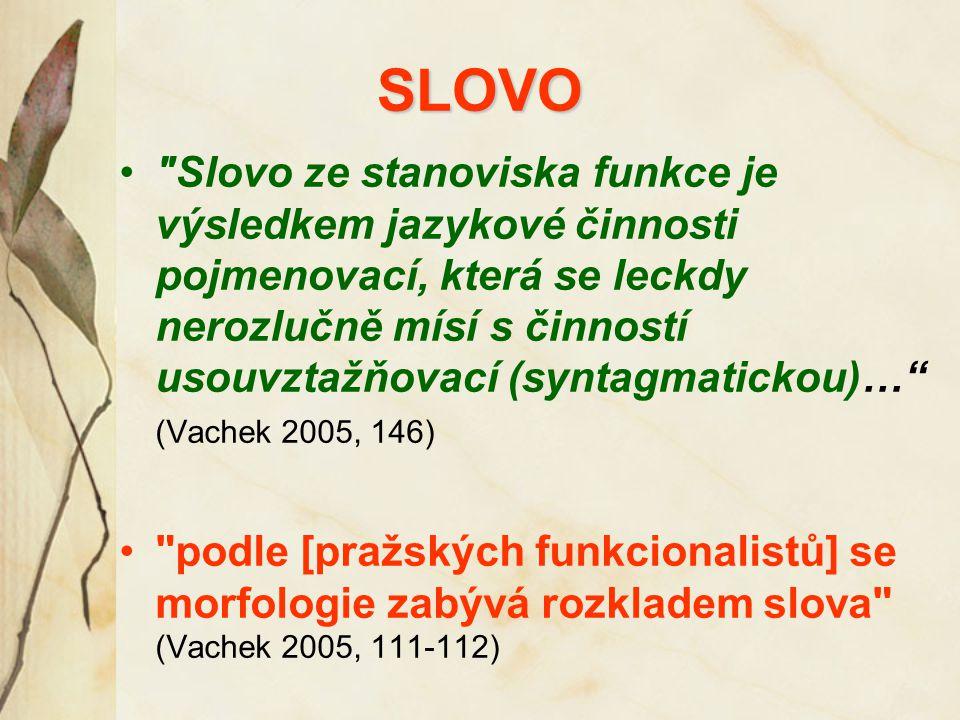 SLOVO Slovo ze stanoviska funkce je výsledkem jazykové činnosti pojmenovací, která se leckdy nerozlučně mísí s činností usouvztažňovací (syntagmatickou)… (Vachek 2005, 146) podle [pražských funkcionalistů] se morfologie zabývá rozkladem slova (Vachek 2005, 111-112)