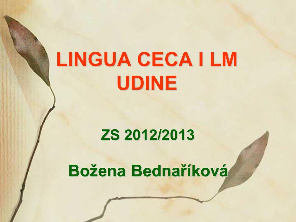 LINGUA CECA I LM UDINE ZS 2012/2013 Božena Bednaříková