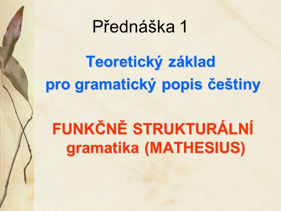 Přednáška 1 Teoretický základ pro gramatický popis češtiny pro gramatický popis češtiny FUNKČNĚ STRUKTURÁLNÍ gramatika (MATHESIUS) FUNKČNĚ STRUKTURÁLNÍ gramatika (MATHESIUS)