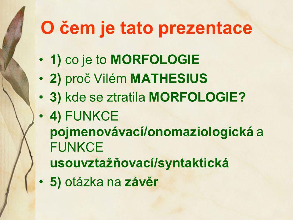 O čem je tato prezentace 1) co je to MORFOLOGIE 2) proč Vilém MATHESIUS 3) kde se ztratila MORFOLOGIE.