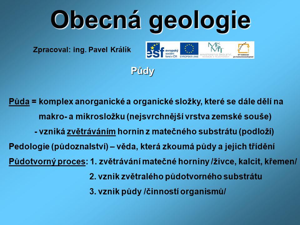 Obecná geologie Půdy Půda = komplex anorganické a organické složky, které se dále dělí na makro- a mikrosložku (nejsvrchnější vrstva zemské souše) - v