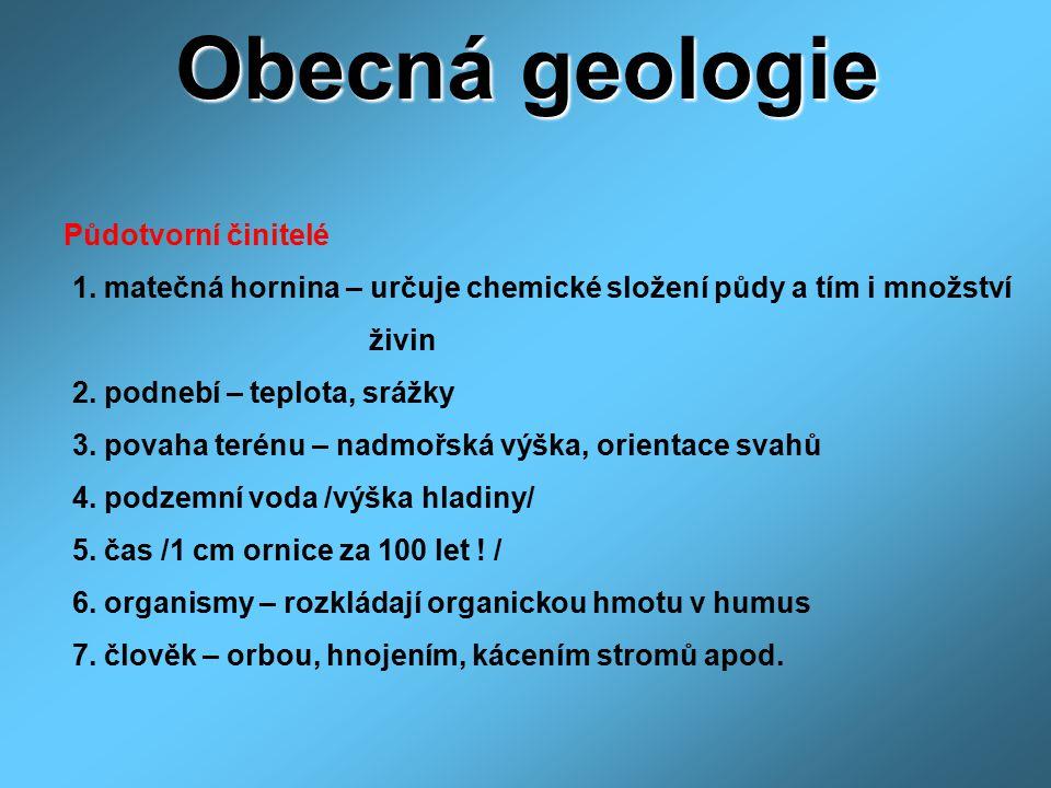 Obecná geologie Půdotvorní činitelé 1. matečná hornina – určuje chemické složení půdy a tím i množství živin 2. podnebí – teplota, srážky 3. povaha te