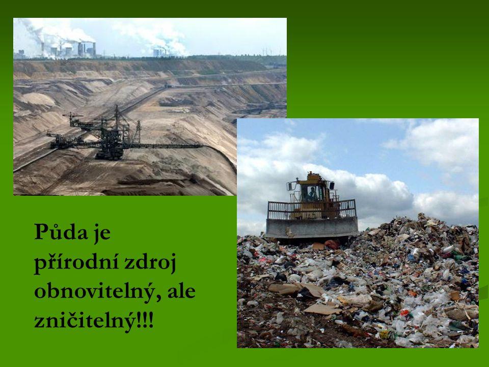 Půda je přírodní zdroj obnovitelný, ale zničitelný!!!