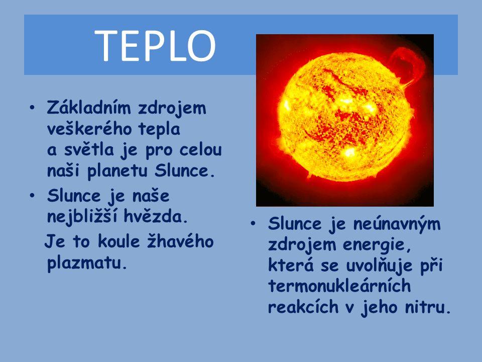 TEPLO Základním zdrojem veškerého tepla a světla je pro celou naši planetu Slunce.