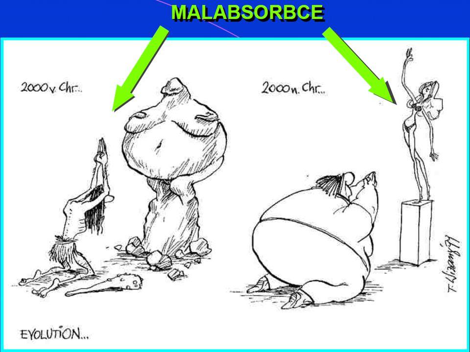  Malabsorpce: stavy, při nichž je narušeno vstřebávání (Absorpce ) a v širším pojetí i trávení (Digesce) potravy v trávicím´ústrojí  Maldigesce: porucha trávení způsobená poruchou různých orgánů trávicího ústrojí (Žaludku, pankreas, jater, střeva), Nejč.