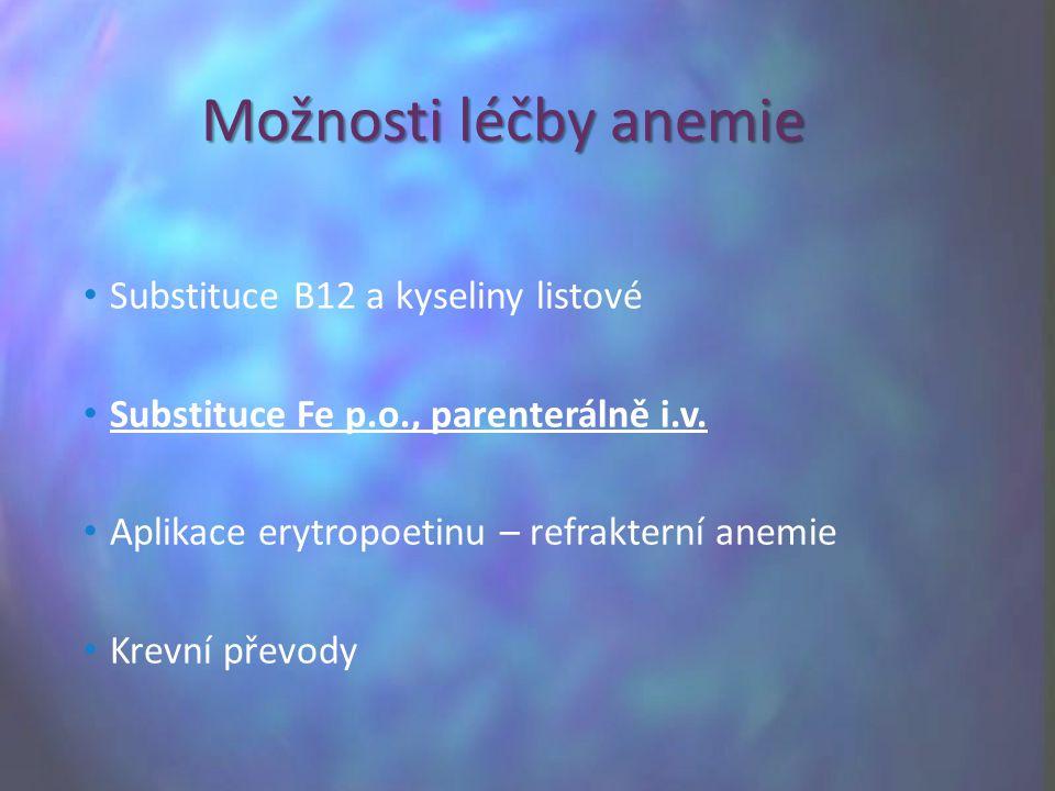 Substituce B12 a kyseliny listové Substituce Fe p.o., parenterálně i.v. Aplikace erytropoetinu – refrakterní anemie Krevní převody Možnosti léčby anem