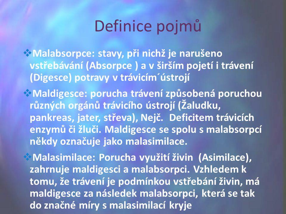 Malabsorpce: stavy, při nichž je narušeno vstřebávání (Absorpce ) a v širším pojetí i trávení (Digesce) potravy v trávicím´ústrojí  Maldigesce: por