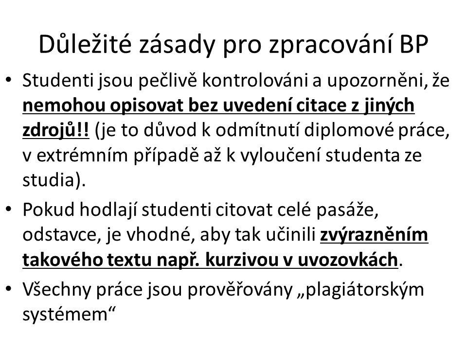 Důležité zásady pro zpracování BP Studenti jsou pečlivě kontrolováni a upozorněni, že nemohou opisovat bez uvedení citace z jiných zdrojů!.