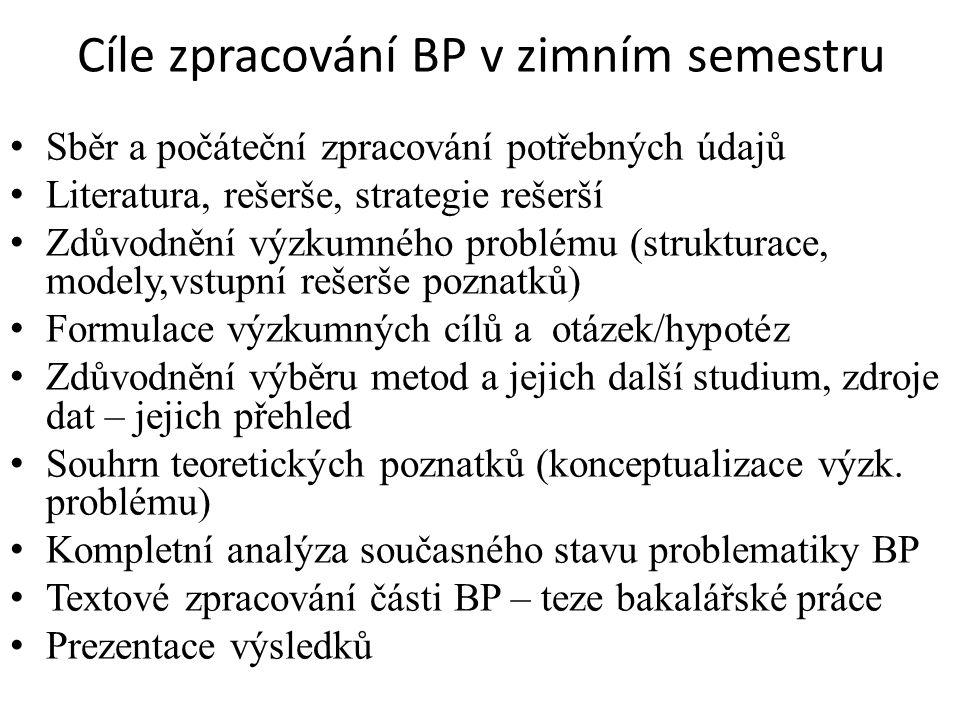 Cíle zpracování BP v zimním semestru Sběr a počáteční zpracování potřebných údajů Literatura, rešerše, strategie rešerší Zdůvodnění výzkumného problému (strukturace, modely,vstupní rešerše poznatků) Formulace výzkumných cílů a otázek/hypotéz Zdůvodnění výběru metod a jejich další studium, zdroje dat – jejich přehled Souhrn teoretických poznatků (konceptualizace výzk.