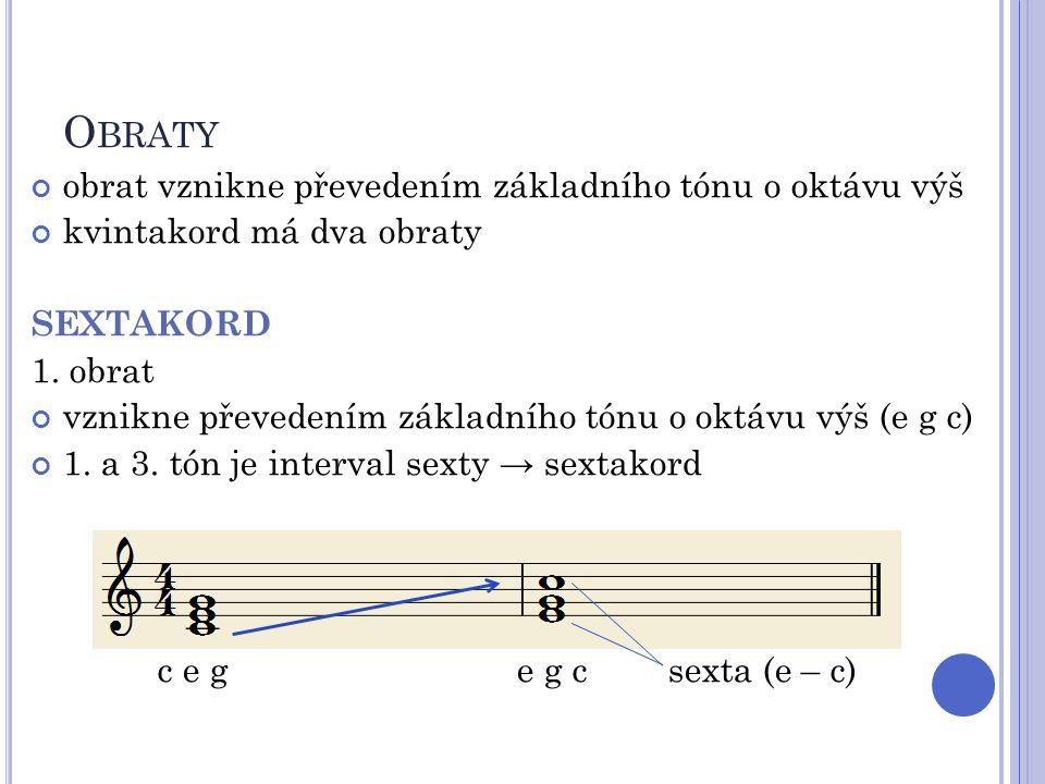 O BRATY obrat vznikne převedením základního tónu o oktávu výš kvintakord má dva obraty SEXTAKORD 1. obrat vznikne převedením základního tónu o oktávu