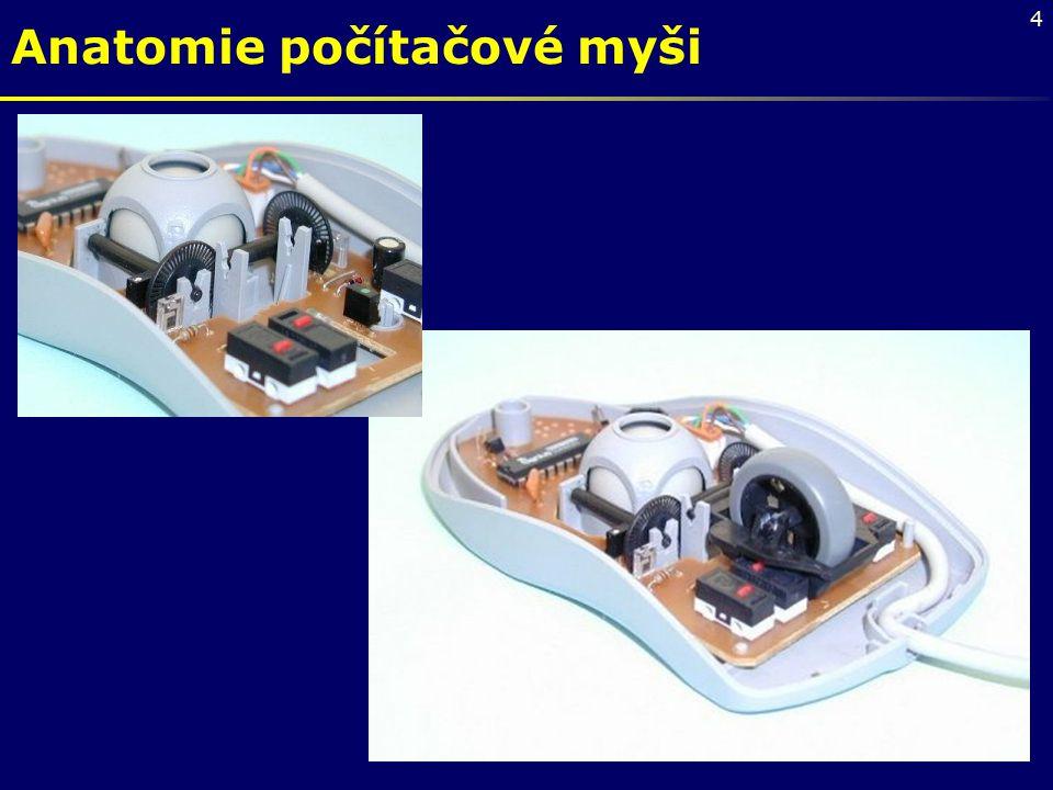 """5 Trackball Trackball – kulový ovladač, který bývá součástí klávesnice přenosných počítačů (uživatel pohybuje přímo kuličkou myši – """"myš vzhůru nohama )"""