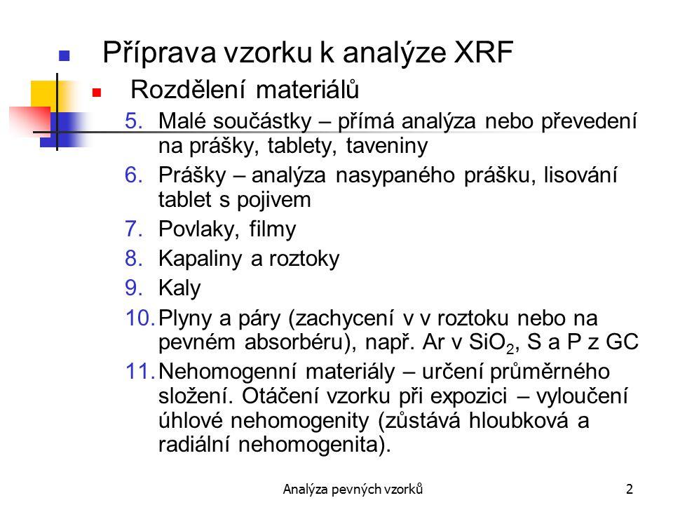 Analýza pevných vzorků3 Příprava vzorku k analýze XRF Rozdělení materiálů 12.Nehomogenní materiály – analýza fází, volba malé části povrchu, pod 1 mm 2 EMPXA.