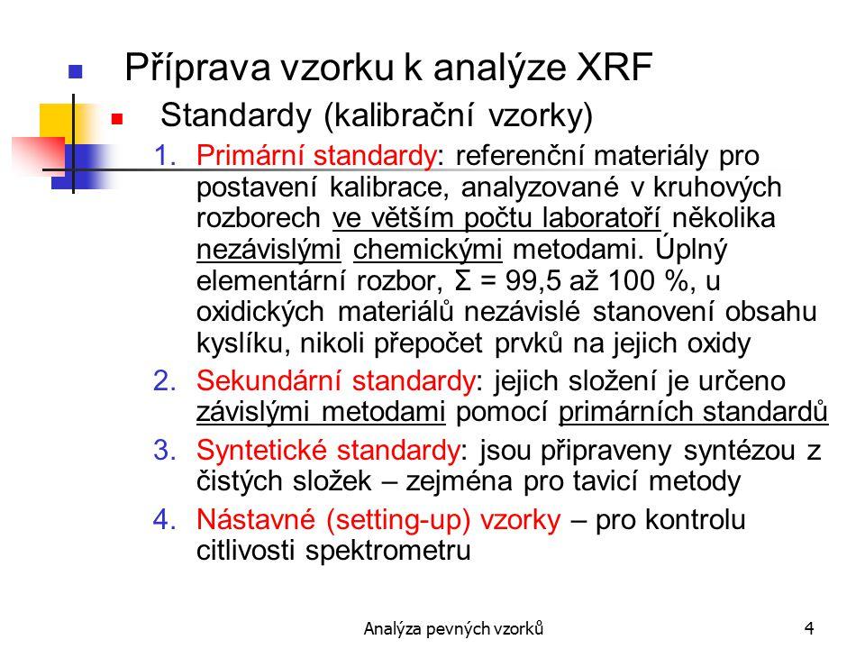 Analýza pevných vzorků5 Příprava vzorku k analýze XRF Trvanlivost standardů – degradace 1.Omezená odolnost vůči radiaci  rozprašování.