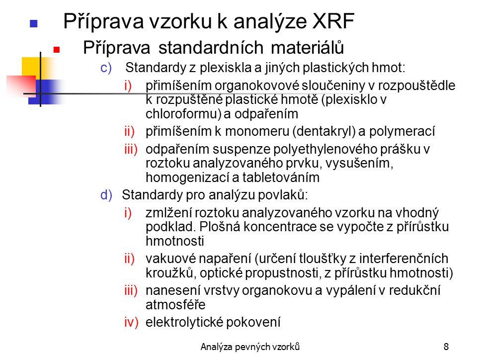 Analýza pevných vzorků19 Prášky Příprava prášků Přidávání aditiv Pojiva: 5-20% z celkové hmotnosti tablety: Li 2 CO 3, H 3 BO 3, kys.