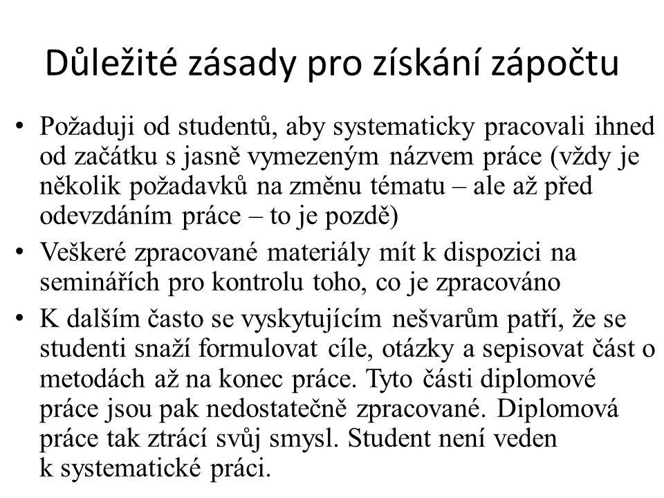 Důležité zásady pro získání zápočtu Požaduji od studentů, aby systematicky pracovali ihned od začátku s jasně vymezeným názvem práce (vždy je několik