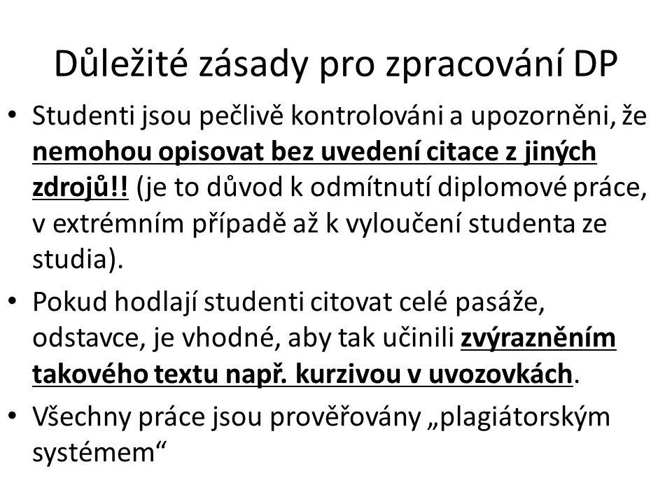 Důležité zásady pro zpracování DP Studenti jsou pečlivě kontrolováni a upozorněni, že nemohou opisovat bez uvedení citace z jiných zdrojů!! (je to dův