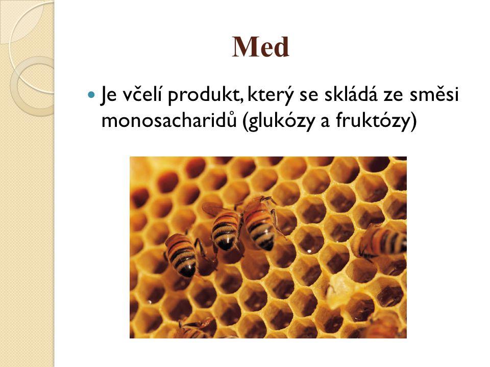 Med Je včelí produkt, který se skládá ze směsi monosacharidů (glukózy a fruktózy)