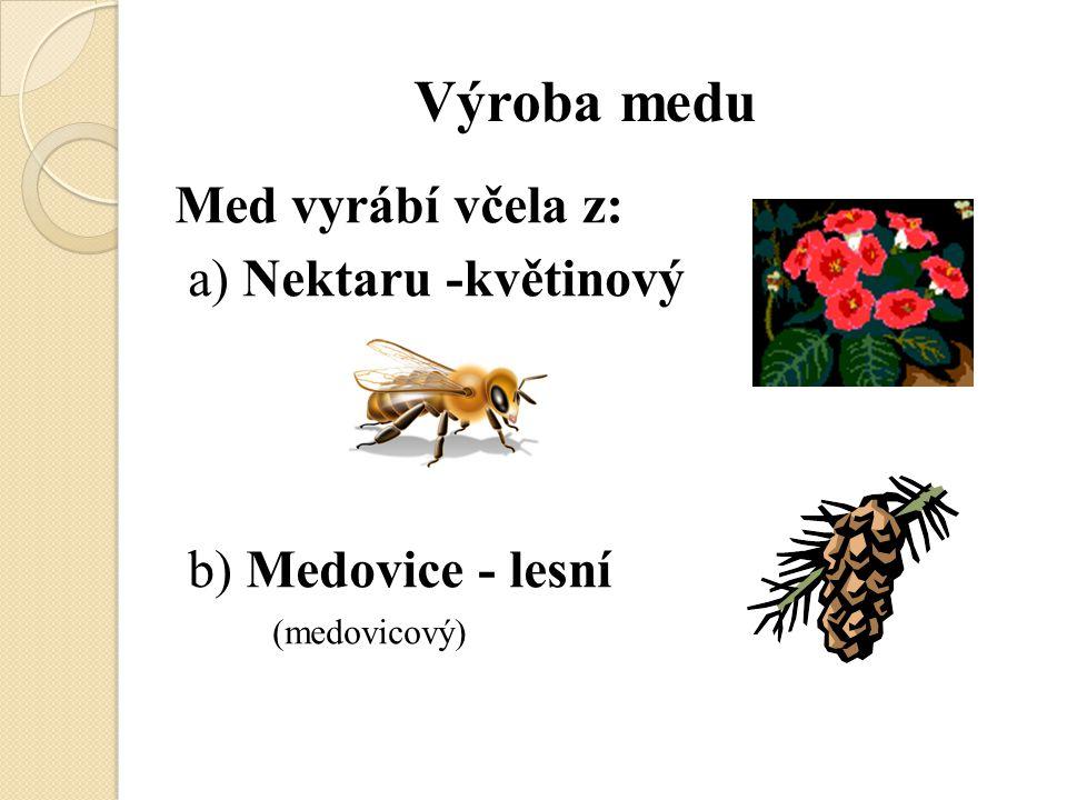 Výroba medu Med vyrábí včela z: a) Nektaru -květinový b) Medovice - lesní (medovicový)