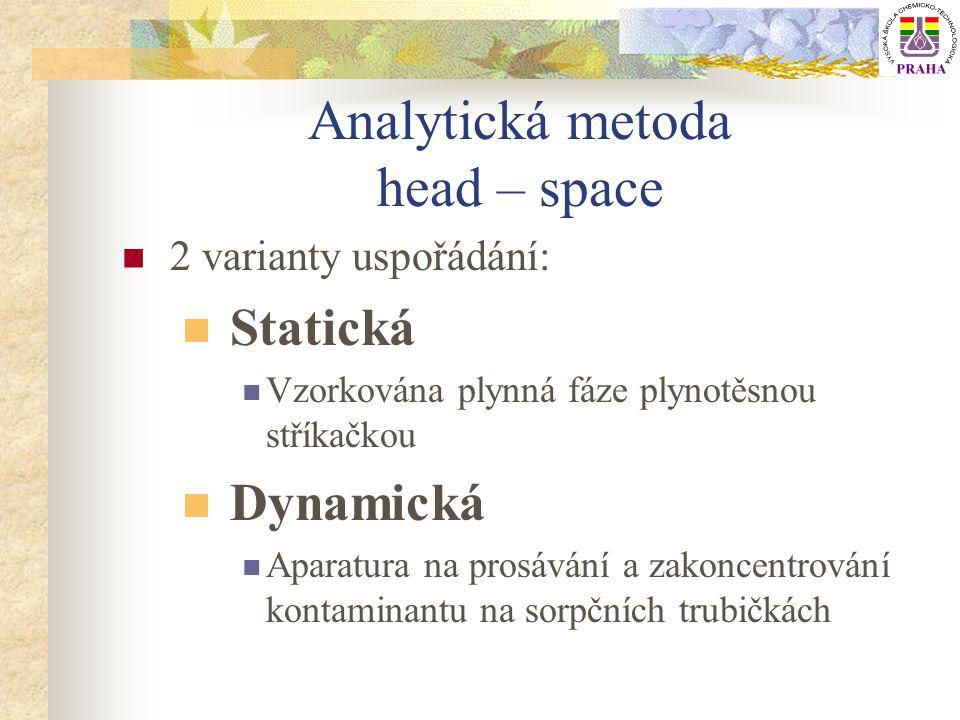 Analytická metoda head – space 2 varianty uspořádání: Statická Vzorkována plynná fáze plynotěsnou stříkačkou Dynamická Aparatura na prosávání a zakonc