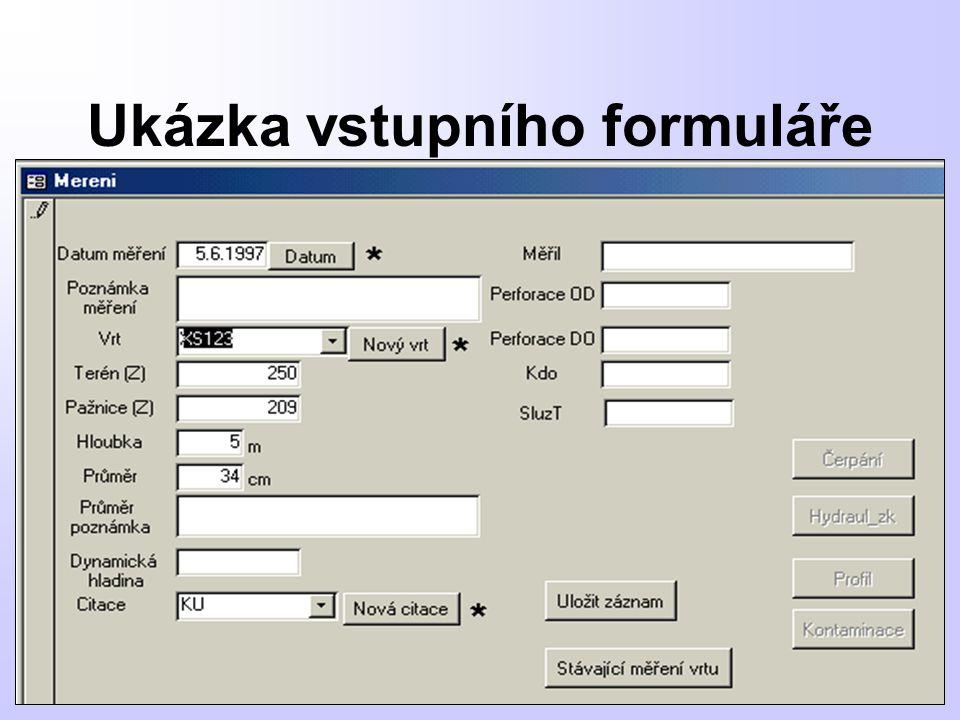 Ukázka vstupního formuláře