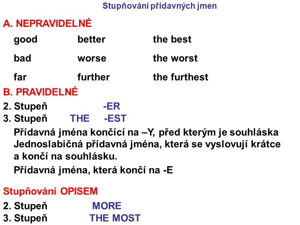 Stupňování přídavných jmen A. NEPRAVIDELNÉ goodbetterthe best badworsethe worst farfurtherthe furthest B. PRAVIDELNÉ 2. Stupeň -ER 3. Stupeň THE -EST