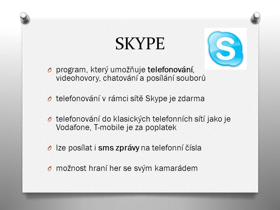 SKYPE O program, který umožňuje telefonování, videohovory, chatování a posílání souborů O telefonování v rámci sítě Skype je zdarma O telefonování do klasických telefonních sítí jako je Vodafone, T-mobile je za poplatek O lze posílat i sms zprávy na telefonní čísla O možnost hraní her se svým kamarádem