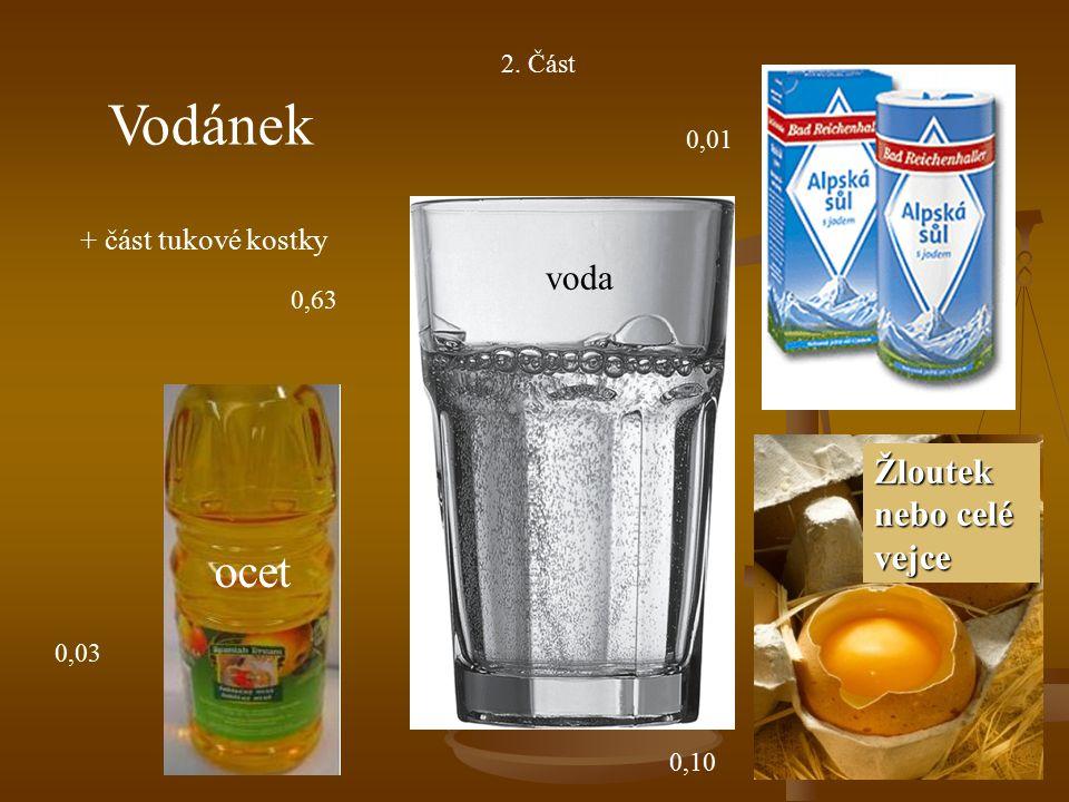 2. Část Vodánek + část tukové kostky ocet voda Žloutek nebo celé vejce 0,03 0,63 0,01 0,10