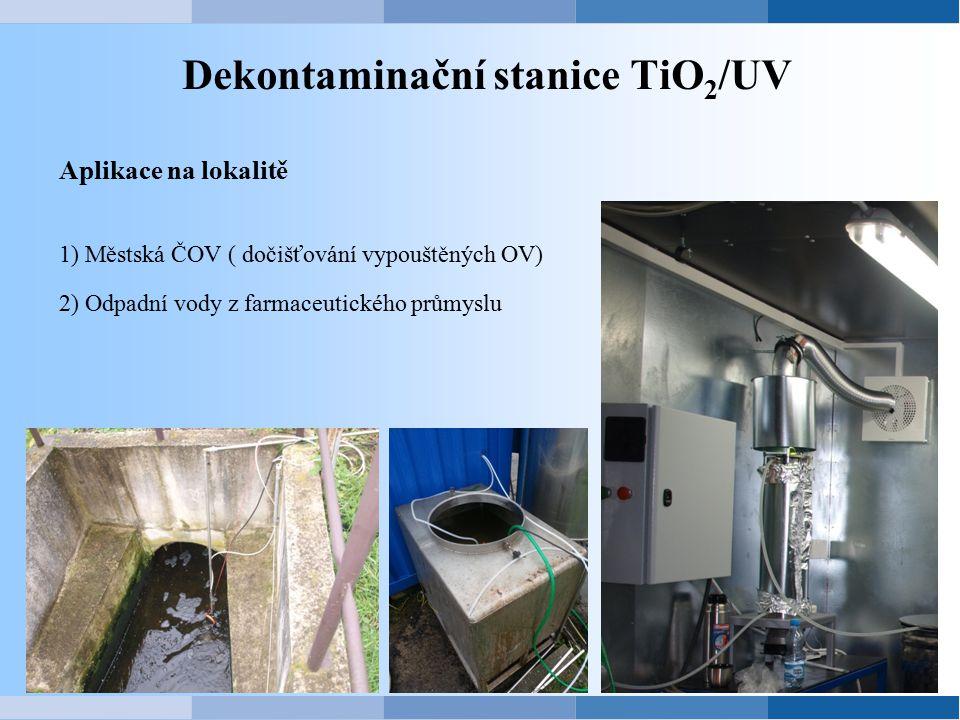 Dekontaminační stanice TiO 2 /UV Aplikace na lokalitě 1) Městská ČOV ( dočišťování vypouštěných OV) 2) Odpadní vody z farmaceutického průmyslu