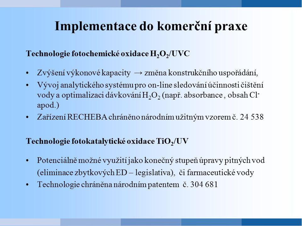 Implementace do komerční praxe Technologie fotochemické oxidace H 2 O 2 /UVC Zvýšení výkonové kapacity → změna konstrukčního uspořádání, Vývoj analyti