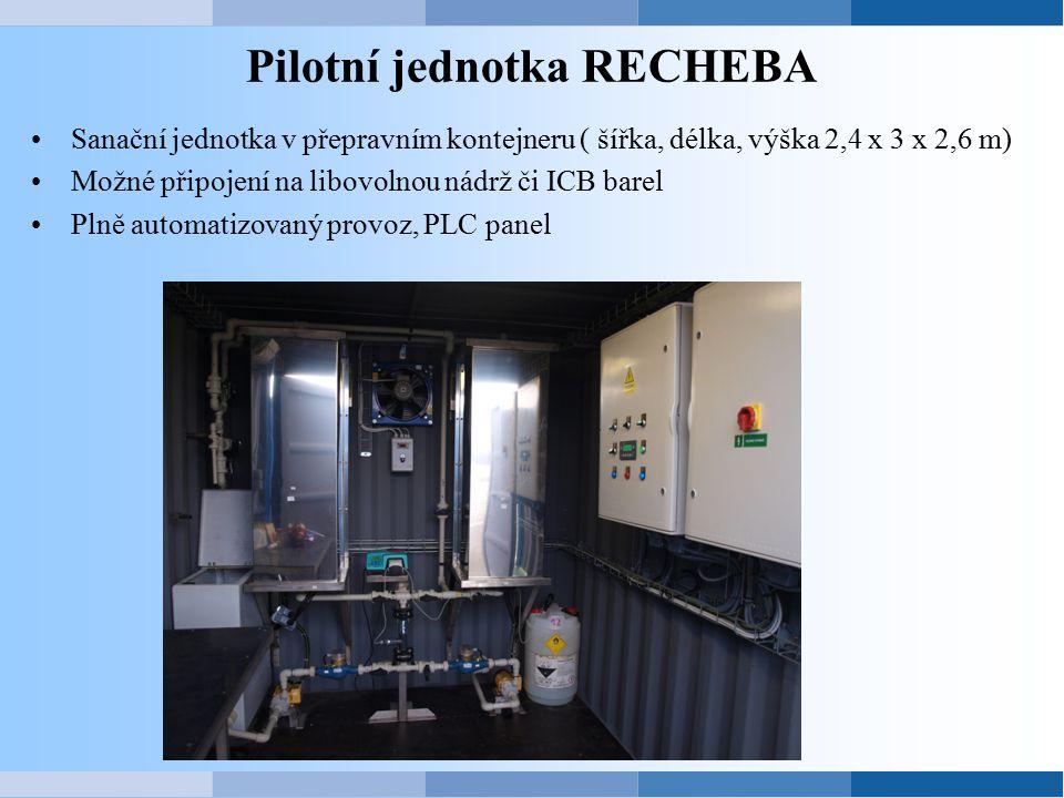 Pilotní jednotka RECHEBA Sanační jednotka v přepravním kontejneru ( šířka, délka, výška 2,4 x 3 x 2,6 m) Možné připojení na libovolnou nádrž či ICB ba