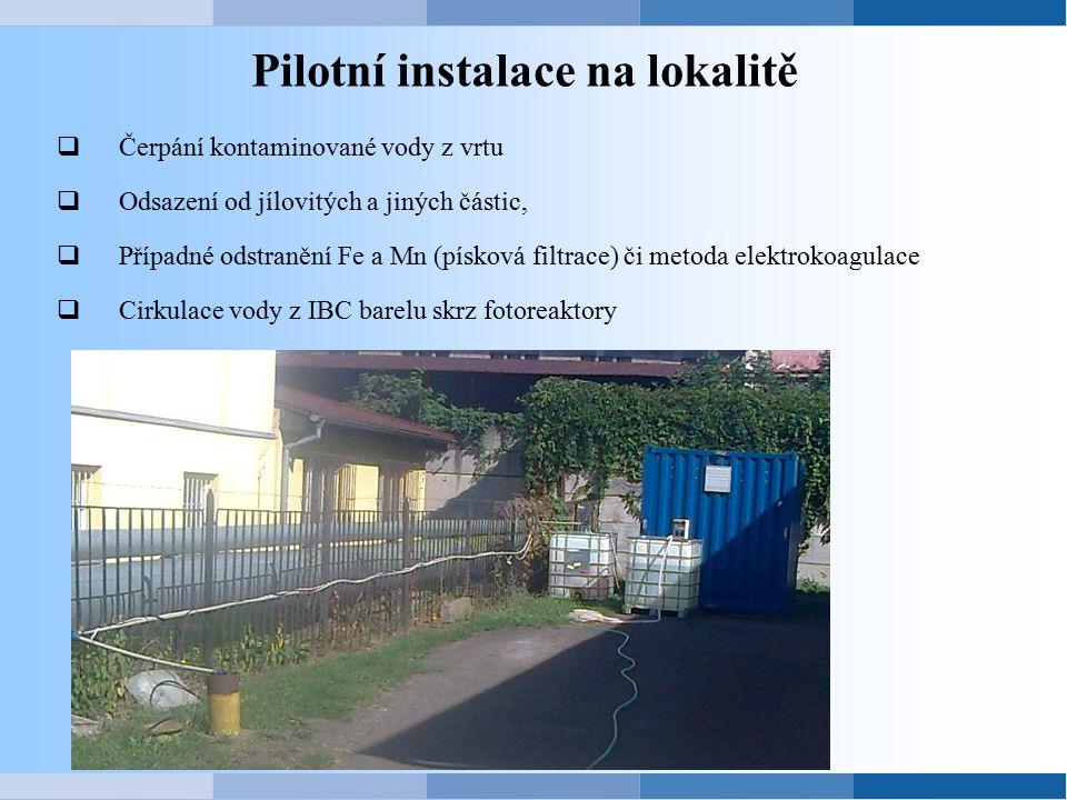 Pilotní instalace na lokalitě  Čerpání kontaminované vody z vrtu  Odsazení od jílovitých a jiných částic,  Případné odstranění Fe a Mn (písková fil