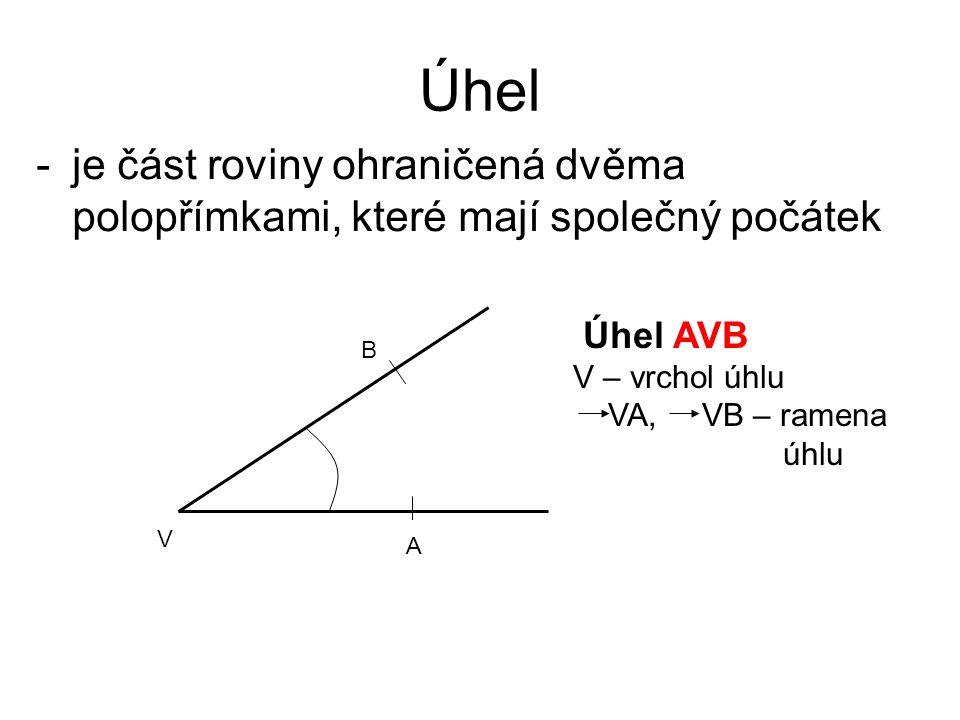 Úhel -je část roviny ohraničená dvěma polopřímkami, které mají společný počátek A V B Úhel AVB V – vrchol úhlu VA, VB – ramena úhlu