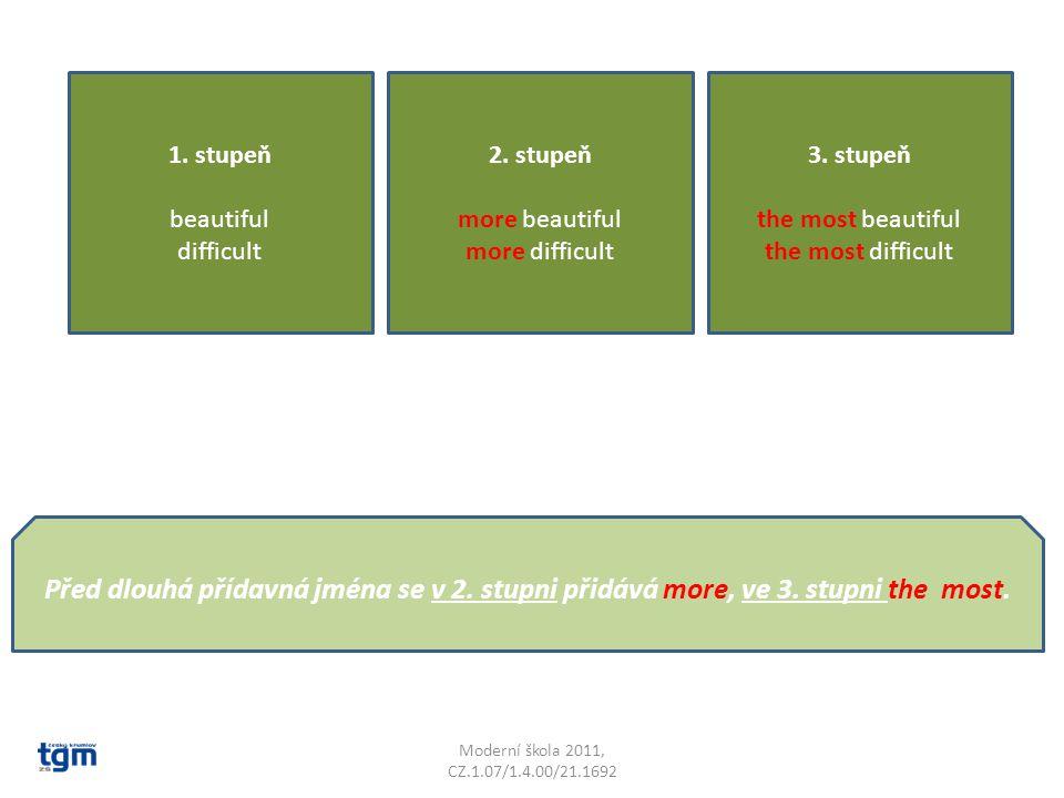 Moderní škola 2011, CZ.1.07/1.4.00/21.1692 Některá přídavná jména se při stupňování trochu změní; U přídavných jmen, které obsahují uprostřed krátkou samohlásku, se zadní souhláska zdvojí.