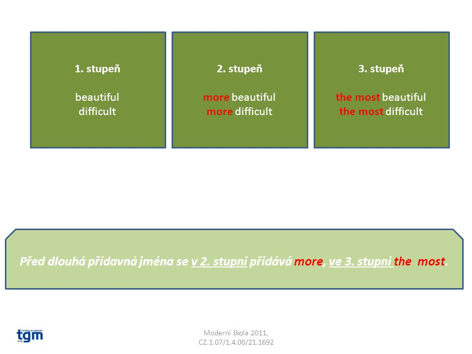 Moderní škola 2011, CZ.1.07/1.4.00/21.1692 1. stupeň beautiful difficult 2. stupeň more beautiful more difficult 3. stupeň the most beautiful the most
