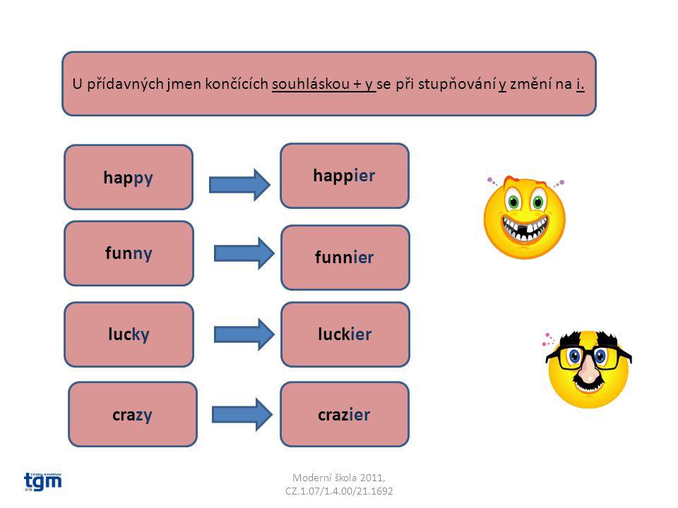 Moderní škola 2011, CZ.1.07/1.4.00/21.1692 U přídavných jmen končících souhláskou + y se při stupňování y změní na i. funny funnier happier happy luck