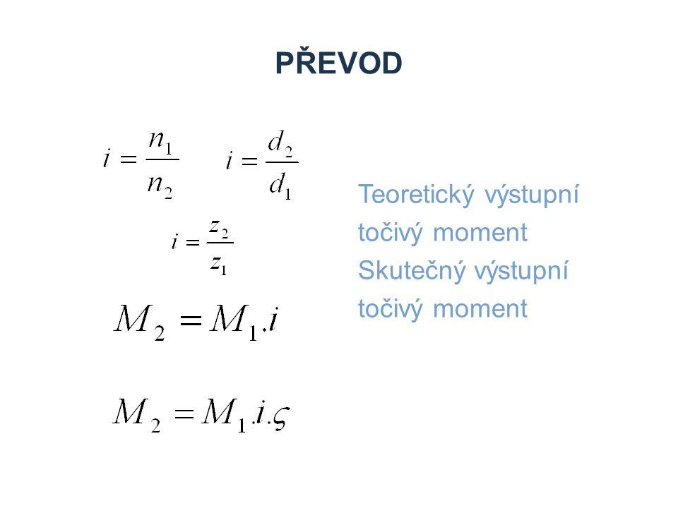 PŘEVOD Teoretický výstupní točivý moment Skutečný výstupní točivý moment