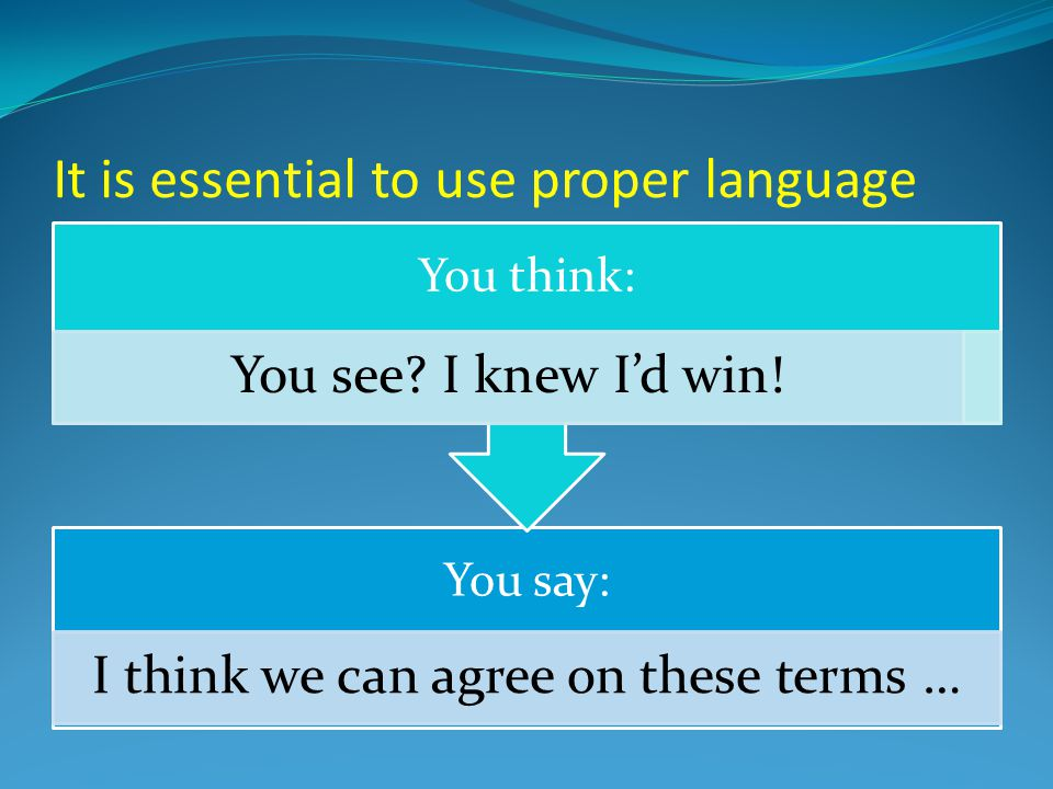 It is essential to use proper language You say: I think we can agree on these terms … You think: You see.