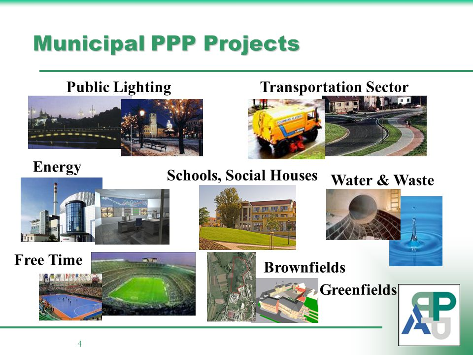 4 Municipal PPP Projects Public Lighting Transportation Sector Water & Waste Energy Brownfields Greenfields Free Time Schools, Social Houses