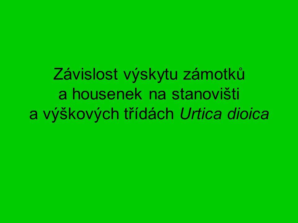 Závislost výskytu zámotků a housenek na stanovišti a výškových třídách Urtica dioica