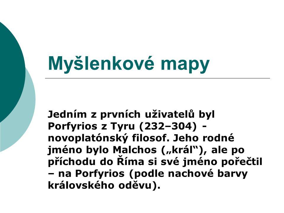 Myšlenkové mapy Jedním z prvních uživatelů byl Porfyrios z Tyru (232–304) - novoplatónský filosof.