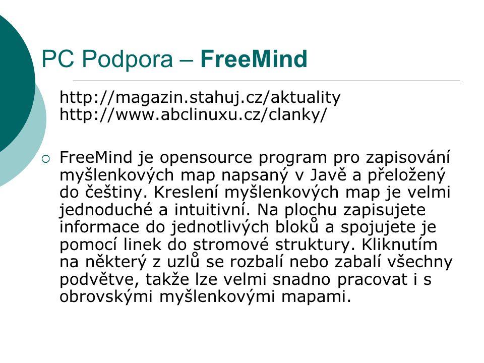 PC Podpora – FreeMind http://magazin.stahuj.cz/aktuality http://www.abclinuxu.cz/clanky/  FreeMind je opensource program pro zapisování myšlenkových map napsaný v Javě a přeložený do češtiny.