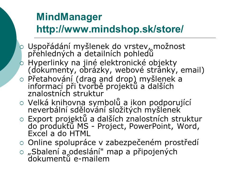 """MindManager http://www.mindshop.sk/store/  Uspořádání myšlenek do vrstev, možnost přehledných a detailních pohledů  Hyperlinky na jiné elektronické objekty (dokumenty, obrázky, webové stránky, email)  Přetahování (drag and drop) myšlenek a informací při tvorbě projektů a dalších znalostních struktur  Velká knihovna symbolů a ikon podporující neverbální sdělování složitých myšlenek  Export projektů a dalších znalostních struktur do produktů MS - Project, PowerPoint, Word, Excel a do HTML  Online spolupráce v zabezpečeném prostředí  """"Sbalení a odeslání map a připojených dokumentů e-mailem"""