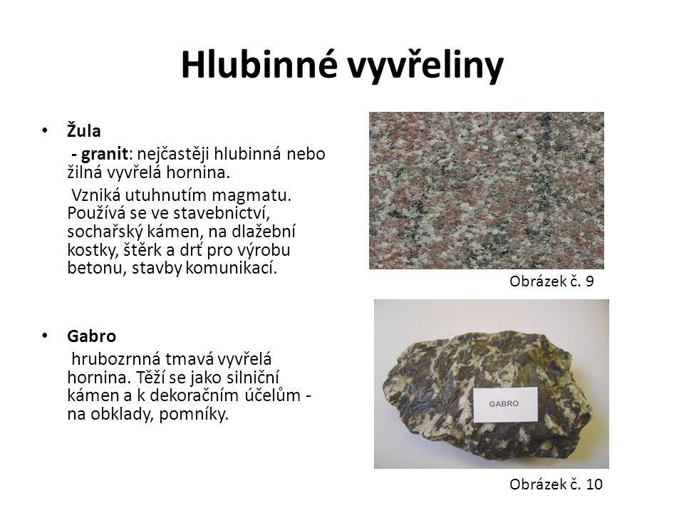 Hlubinné vyvřeliny Žula - granit: nejčastěji hlubinná nebo žilná vyvřelá hornina. Vzniká utuhnutím magmatu. Používá se ve stavebnictví, sochařský káme