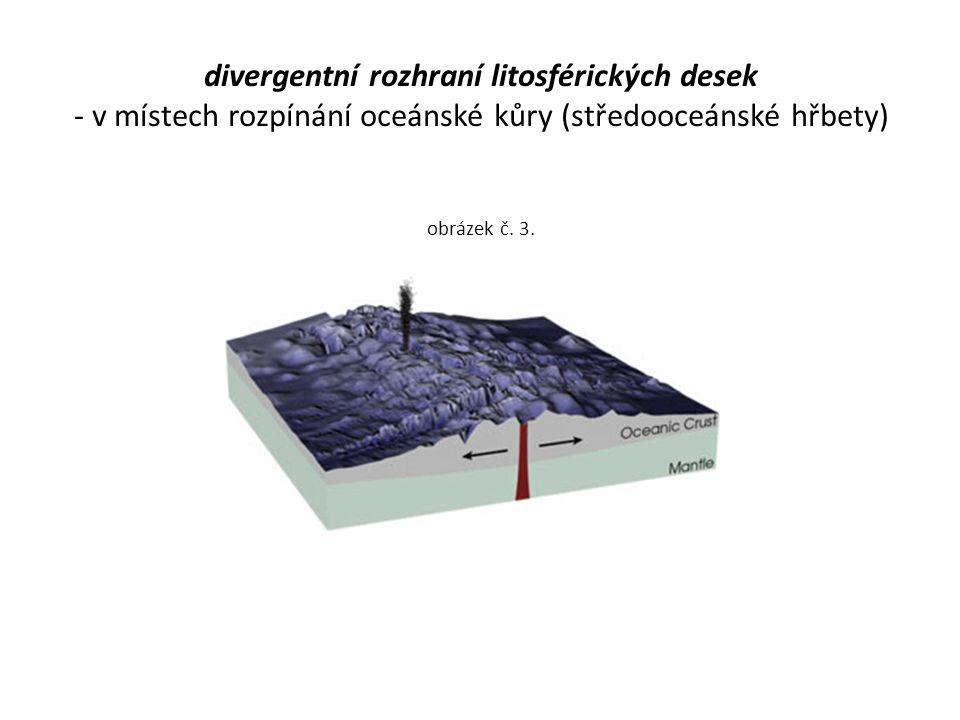 divergentní rozhraní litosférických desek - v místech rozpínání oceánské kůry (středooceánské hřbety) obrázek č. 3.