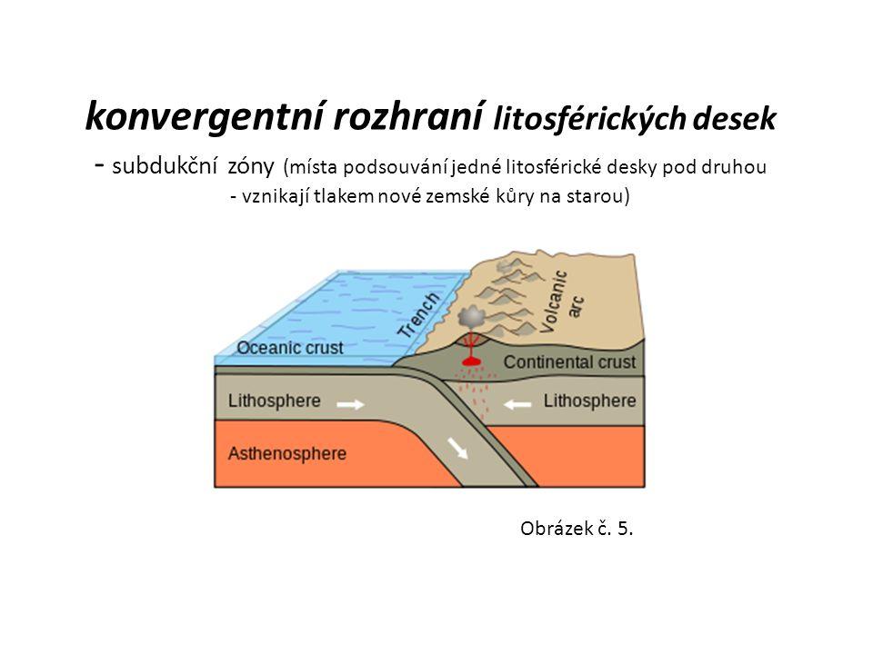 konvergentní rozhraní litosférických desek - subdukční zóny (místa podsouvání jedné litosférické desky pod druhou - vznikají tlakem nové zemské kůry n