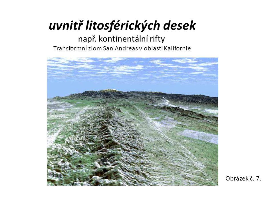uvnitř litosférických desek např. kontinentální rifty Transformní zlom San Andreas v oblasti Kalifornie Obrázek č. 7.