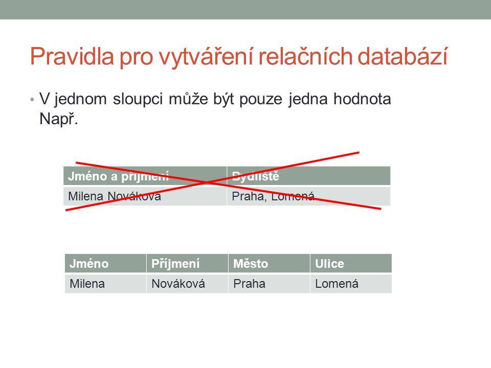 Pravidla pro vytváření relačních databází V tabulce musí být alespoň jeden sloupec jednoznačně identifikující záznam Je to např.
