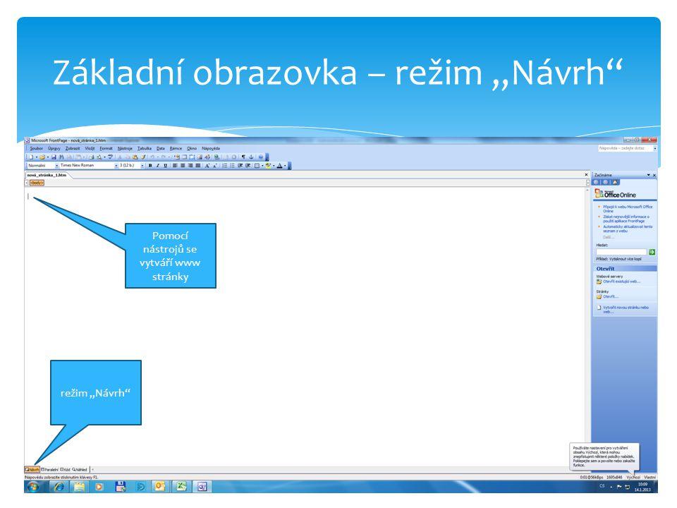 """Režim """"Paralelní režim """"Paralelní zde je vidět samotný HTML kód Pomocí nástrojů se vytváří www stránky"""