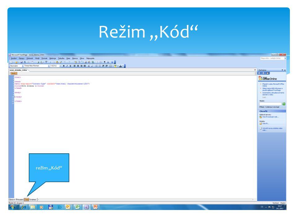 """Režim """"Kód režim """"Kód"""