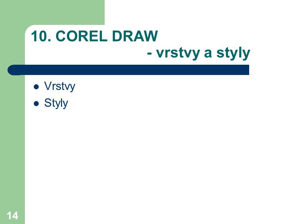 14 10. COREL DRAW - vrstvy a styly Vrstvy Styly